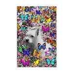 Violet White Westie Butterflies Mini Poster Print