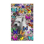 Violet White Westie Butterflies 35x21 Wall Decal