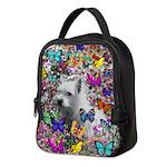 Violet White Westie Butterflies Neoprene Lunch Bag