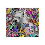 Violet White Westie Butterflies Throw Blanket