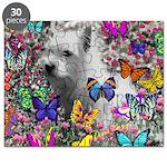 Violet White Westie Butterflies Puzzle
