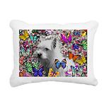 Violet Westie Buterflies Rectangular Canvas Pillow