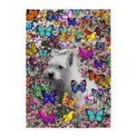Violet White Westie Butterflies 5'x7'Area Rug