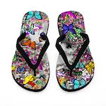 Violet White Westie Butterflies Flip Flops