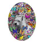 Violet White Westie Butterflies Ornament (Oval)