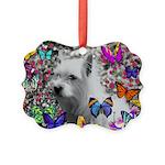 Violet White Westie Butterflies Picture Ornament