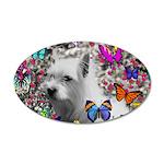 Violet Westie Buterflies 20x12 Oval Wall Decal