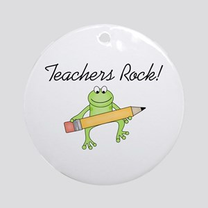 Frog Teachers Rock Ornament (Round)