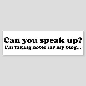 Speak Up! Blog Bumper Sticker