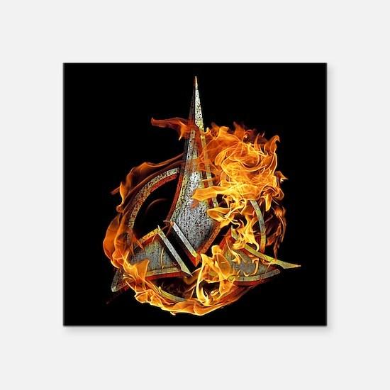 Klingon Emblem Fire Sticker