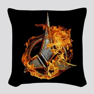 Klingon Emblem Fire Woven Throw Pillow