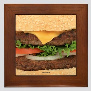 Funny Hamburger Framed Tile