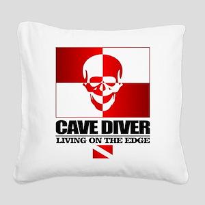 Cave Diver (Skull) Square Canvas Pillow