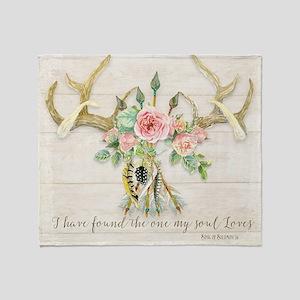 BOHO Bohemian Deer Antler Arrows Fea Throw Blanket