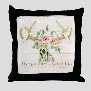BOHO Bohemian Deer Antler Arrows Feat Throw Pillow