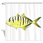 Yellow Trevally (aka Yellow Jack) fish Shower Curt
