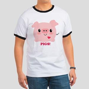 Kawaii I Love Pigs Ringer T