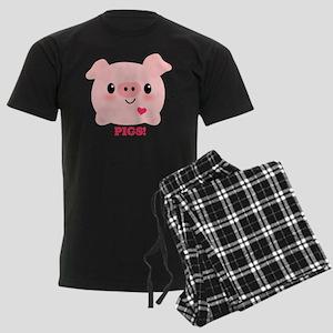 Kawaii I Love Pigs Men's Dark Pajamas