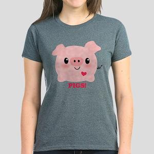 Kawaii I Love Pigs Women's Dark T-Shirt
