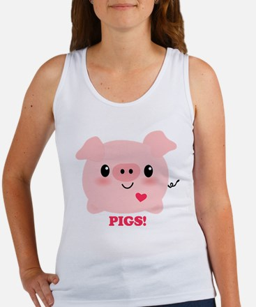 Kawaii I Love Pigs Women's Tank Top