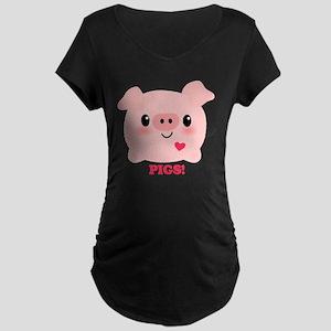 Kawaii I Love Pigs Maternity Dark T-Shirt