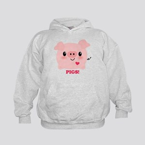 Kawaii I Love Pigs Kids Hoodie