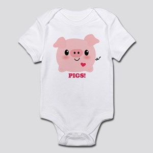 Kawaii I Love Pigs Infant Bodysuit