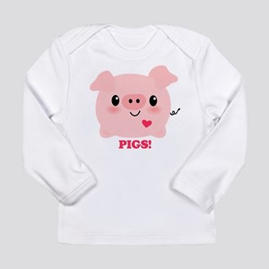Kawaii I Love Pigs Long Sleeve Infant T-Shirt