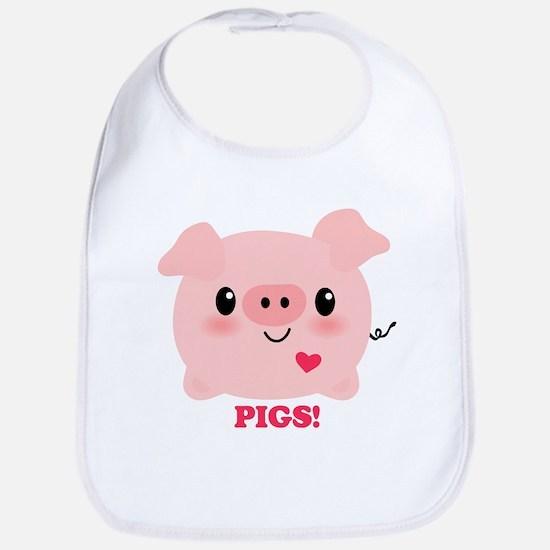 Kawaii I Love Pigs Bib