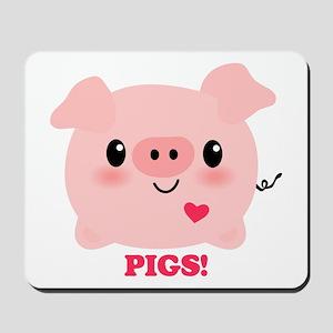 Kawaii I Love Pigs Mousepad