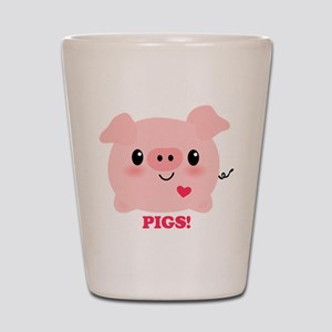Kawaii I Love Pigs Shot Glass