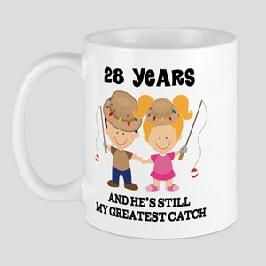 28th Anniversary Hes Greatest Catch Mug
