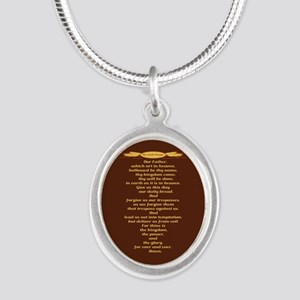 The Lords Prayer Wheat Silver Oval Necklace