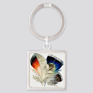 Feathers Square Keychain