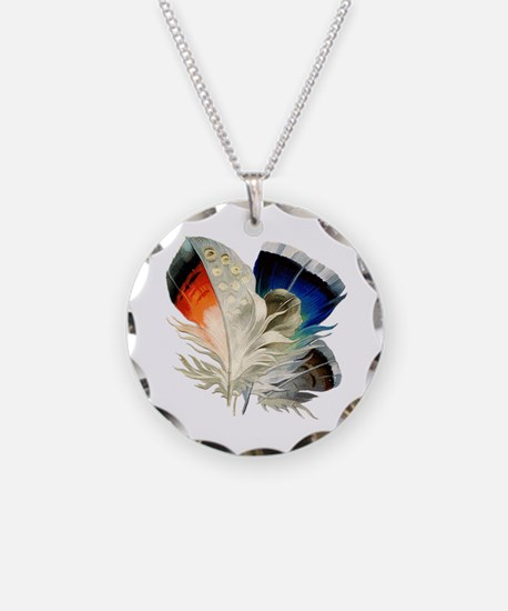 Feathers Necklace Circle Charm