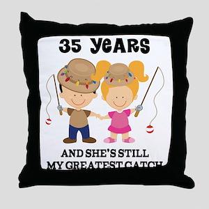 35th Anniversary Mens Fishing Throw Pillow