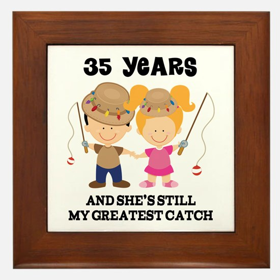 35th Anniversary Mens Fishing Framed Tile