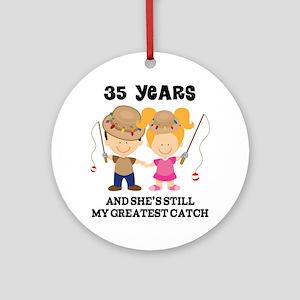 35th Anniversary Mens Fishing Ornament (Round)