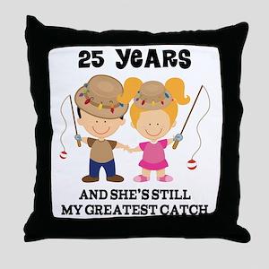 25th Anniversary Mens Fishing Throw Pillow
