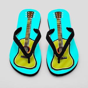 Acoustic Guitar Flip Flops (Light Blue)
