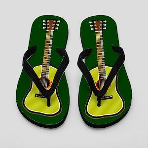Acoustic Guitar Flip Flops (Dark Green)