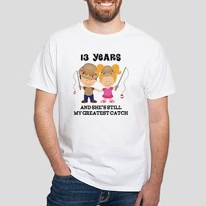13th Anniversary Mens Fishing White T-Shirt
