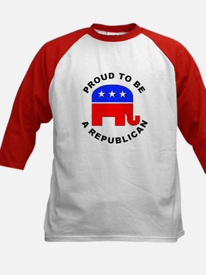 Proud Republican (Front) Kids Baseball Jersey