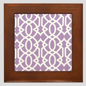 African Violet & White Trellis Framed Tile