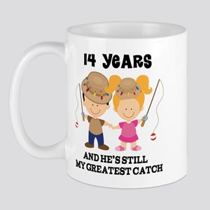 14th Anniversary Hes Greatest Catch Mug