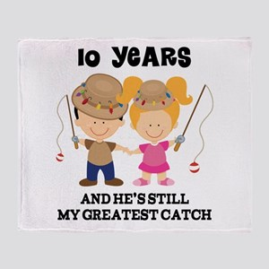 10th Anniversary Hes Greatest Catch Throw Blanket
