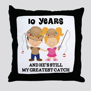 10th Anniversary Hes Greatest Catch Throw Pillow