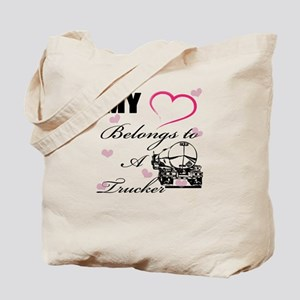 My Heart Belongs To A Trucker Tote Bag