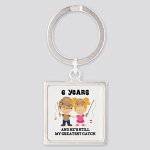 6th Anniversary Hes Greatest Catch Square Keychain