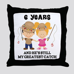 6th Anniversary Hes Greatest Catch Throw Pillow